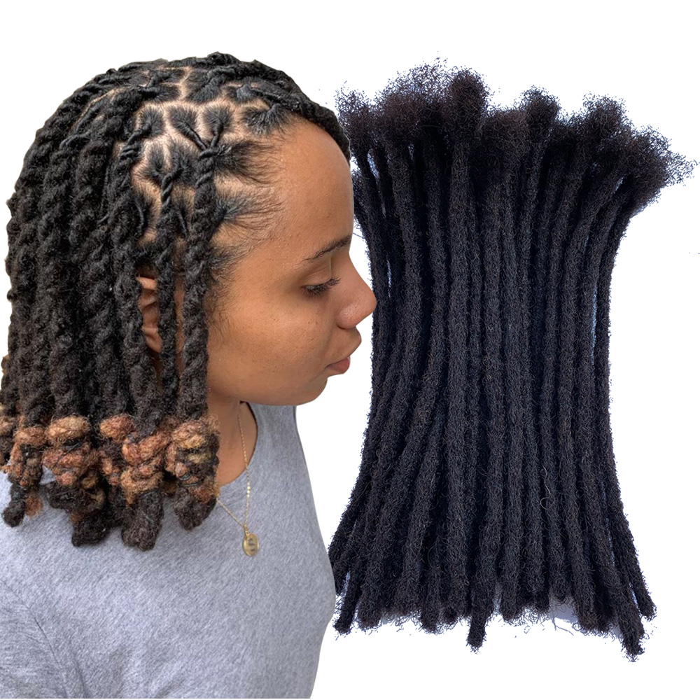 YONNA Human Hair Dreadlocks Microlocks Sisterlocks Dreadlocks Hair Extensions 60Locs Full Handmade 0.4cm Width