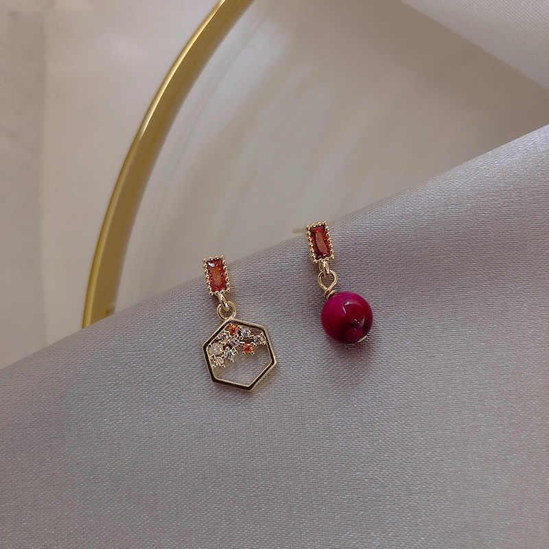 Femme Boucle D/'Oreille Asymétrique Fleurs Cristal Pendentif Simple Bijoux Cadeau