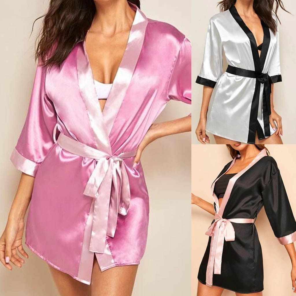 נשים סקסי תחרה משי סאטן קימונו חלוק רחצה חלוק כתונת לילה סטי ארוך שרוול הלבשה תחתונה פיג 'מה הלבשת טרקלין Nightwear ##6