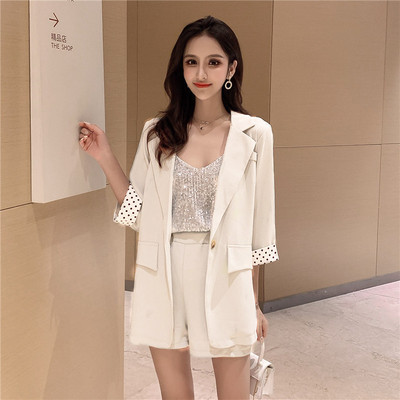 FMFSSOM Summer Spring Dot Sleeve Thin Office Ladies Long Solid Pockets Blazers + Elastic Waist Shorts 2 Pieces Women Female