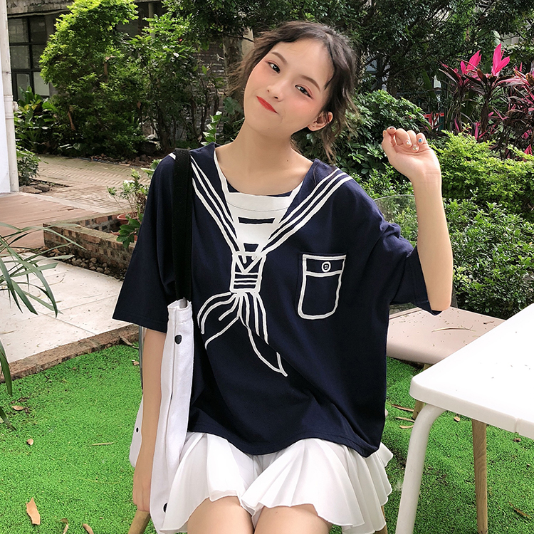 Korea Summer 2020 New Women Short Sleeve Tee Cute Navy Style Cartoon Sailor Pattern Printing Tops Loose Casual Cotton T-Shirts