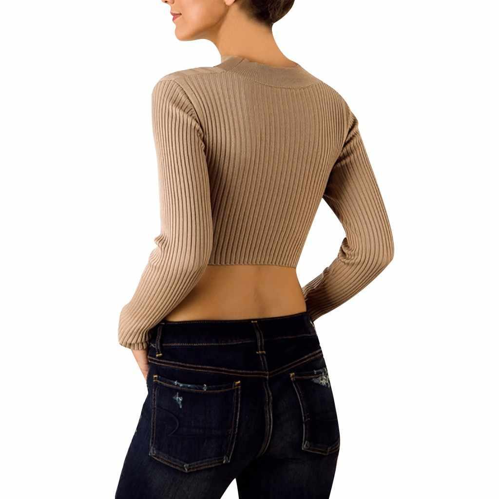 Manga larga vendaje 2019 mujeres de punto de moda Delgado Femme elasticidad jerseys Otoño Invierno suéter mujeres cuello en V suéter