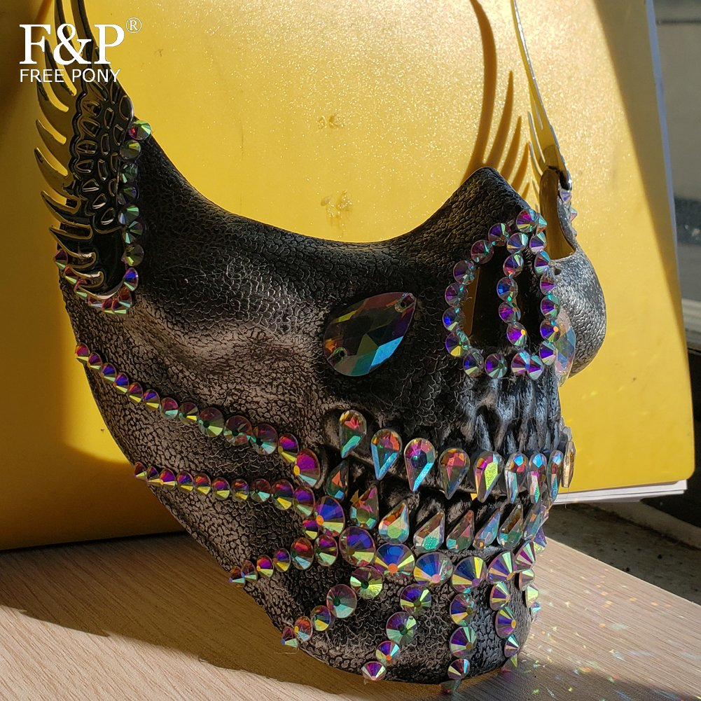 Burning Man Festival Steampunk Holographic Rhinestone Skull Half Face Mask Drag Queen Halloween Costume Rave Accessories