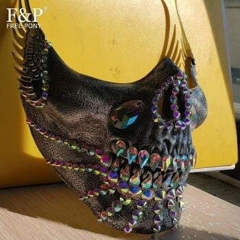 Burning Man Festival Steampunk Olografica Del Cranio Del Rhinestone Mezza Viso Mask Drag queen Costume di Halloween Rave Accessori