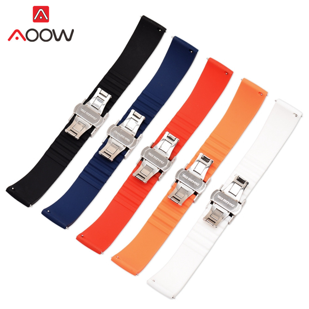 Rubber Straps Quick Release Watchband High Quality Butterfly Buckle Bracelet Band Strap Accessories 14mm 16mm 18mm 20mm 22mm
