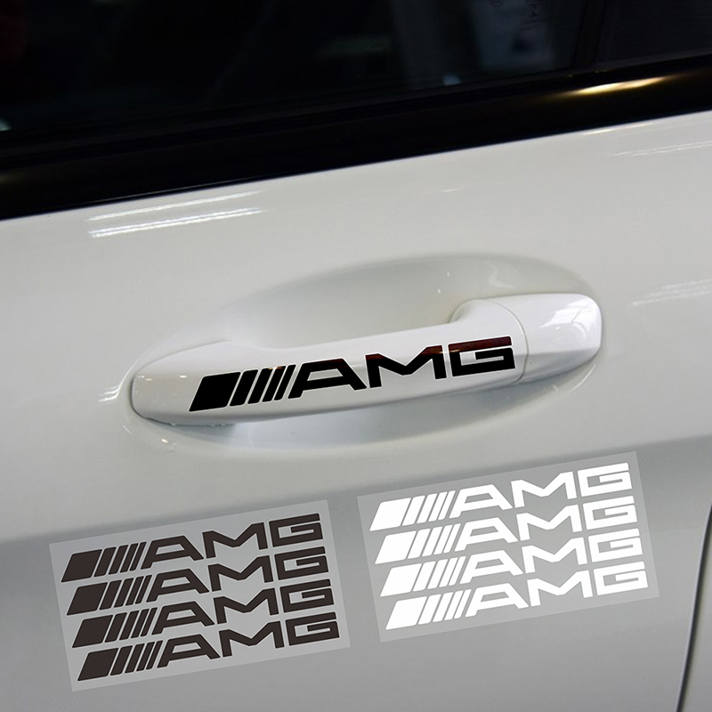 4 pcs car door handle Sticker Car body styling sticker For <font><b>Mercedes</b></font> <font><b>Benz</b></font> AMG GLC GLE E CLA GLA W205 W211 <font><b>W213</b></font> Car <font><b>Accessories</b></font> image