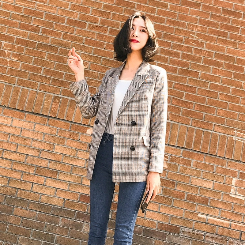 Fashion Women Blazers And Jackets Long Sleeve Spring Female Jacket Plaid Office Coat Blazer Feminino Women's Suit YQ142