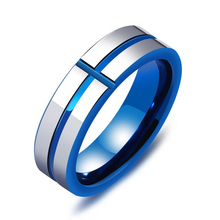 Europe and America punk wind cross tungsten steel mens ring tide street classic 6mm high quality gift VR597