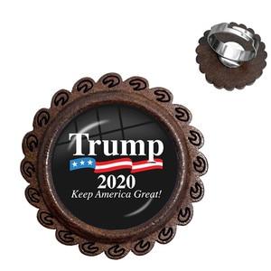 Трамп 2020 стеклянные кабошоны деревянные кольца США коллекция для выборов сохранить Америку Большие кольца ювелирные изделия для женщин му...