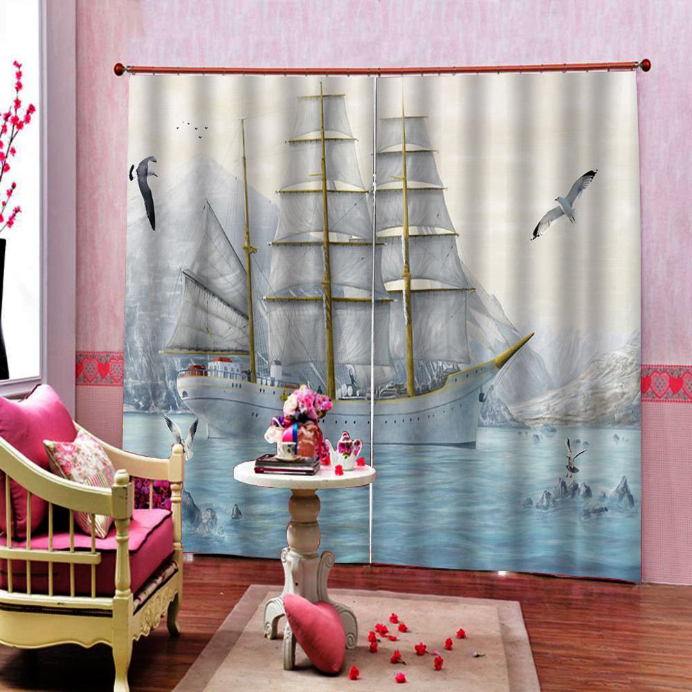 Custom European Style 3d Blackout Window Drapes Sailing Ship Seagull Curtains For Living Room Bedroom Indoor Decor