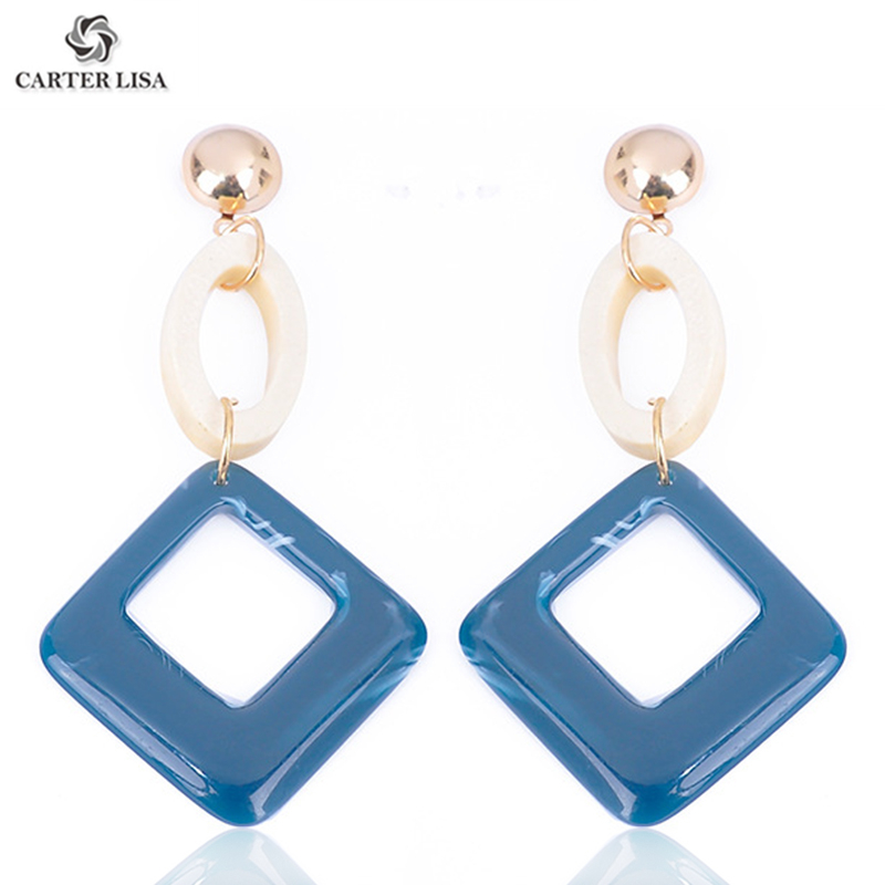 CARTER LISA Boho Simple Gemotric Hollow Round Square Drop Dangle Earrings For Women Jewelry  2019 QE-000138