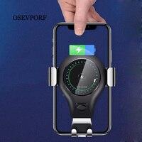 Cep telefonları ve Telekomünikasyon Ürünleri'ten Cep Telefonu Tutucuları ve Standları'de OSEVPORF Qi kablosuz araç iphone şarj cihazı XS X 7 11 Samsung S10 S9 S8 artı kablosuz şarj cihazı 10W hızlı araba şarjı telefon tutucu