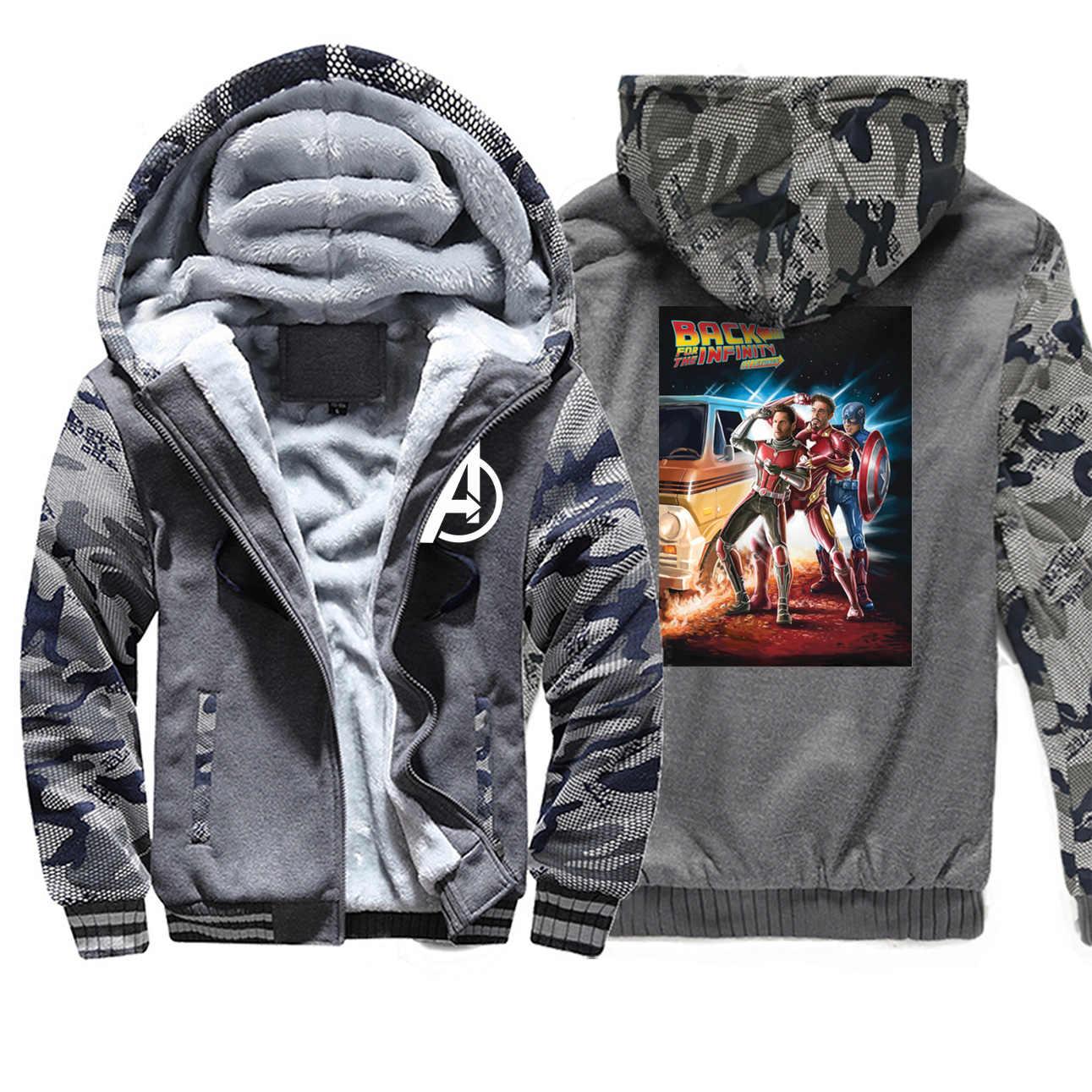 Zurück Zu Zukunft Winter Mäntel Männer Iron Man Avengers Ende Spiel Camo Mode Endgame Hoodies Sweatshirts Spinne Mann Marvel Streetwear