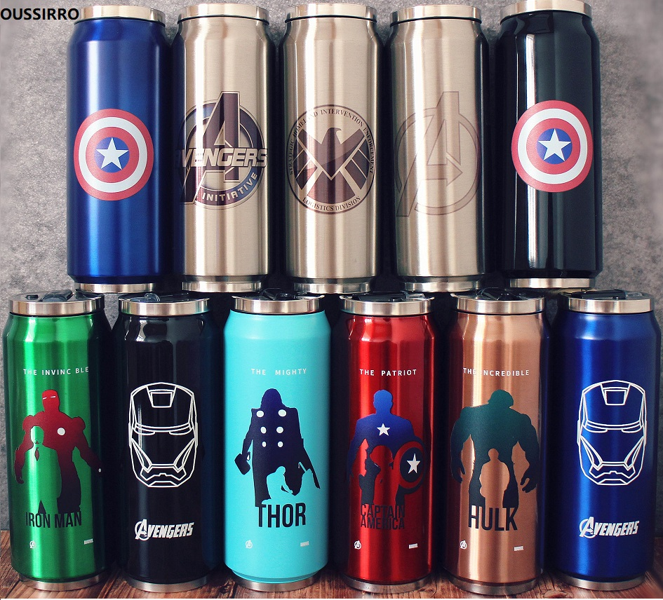 Personalized Name Stainless Steel Water Bottle Super Hero The Avenger Thermos Portable Trendy Straw Cup Thermos Vacuum Flask