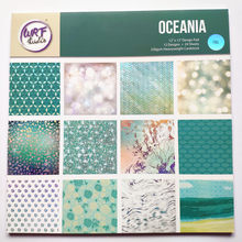 12 Inch Oceaina Blue Iron Silver Foil Pattern Background Scrapbook Paper Pad DIY Craft Gift Photo Ablum Card Making Home deco