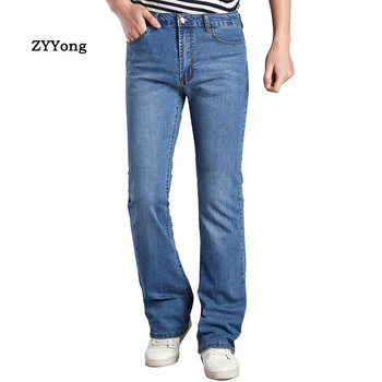 ZYYong  Mens Business Casual Slim Bootcut Flared Jeans for Men Boot Cut Flareelastic force Denim Pants Blue   Long Trousers blue floral print flared long pants