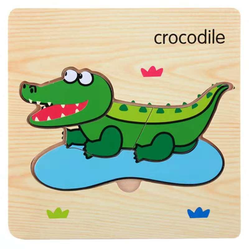 3D деревянные головоломки, игрушки для детей, Деревянные 3d Мультяшные головоломки с животными, интеллектуальные детские развивающие игрушки для детей - Цвет: Красный