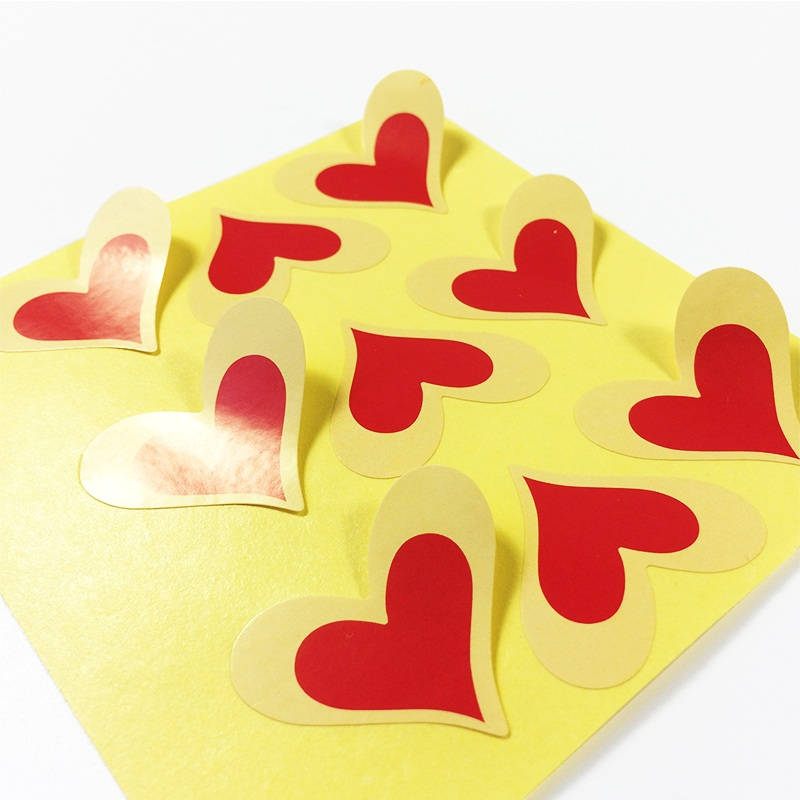 90Pcs/lot Cute Stikers Red Heart Shape Kraft Paper Seal Sticker For Handmade Products Friend Gift Package Label
