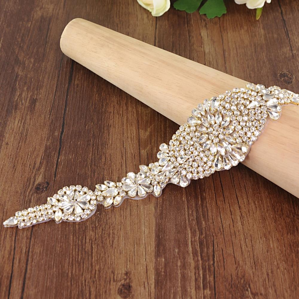 TRiXY S123-G Golden Rhinestones Belt Bridal Belt Diamond Wedding Dress Belt Crystal Wedding Sash For Wedding Dress Accessories