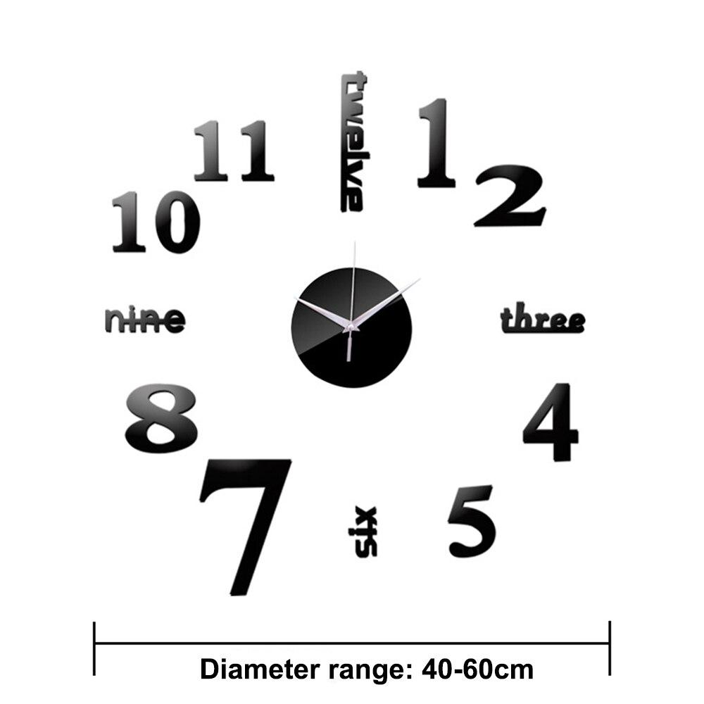 3D Wall Clock Acrylic Mirror Wall Stickers Modern DIY Wall Clocks Home Decor Living Room Quartz Needle reloj de pared 2020 NEW 6