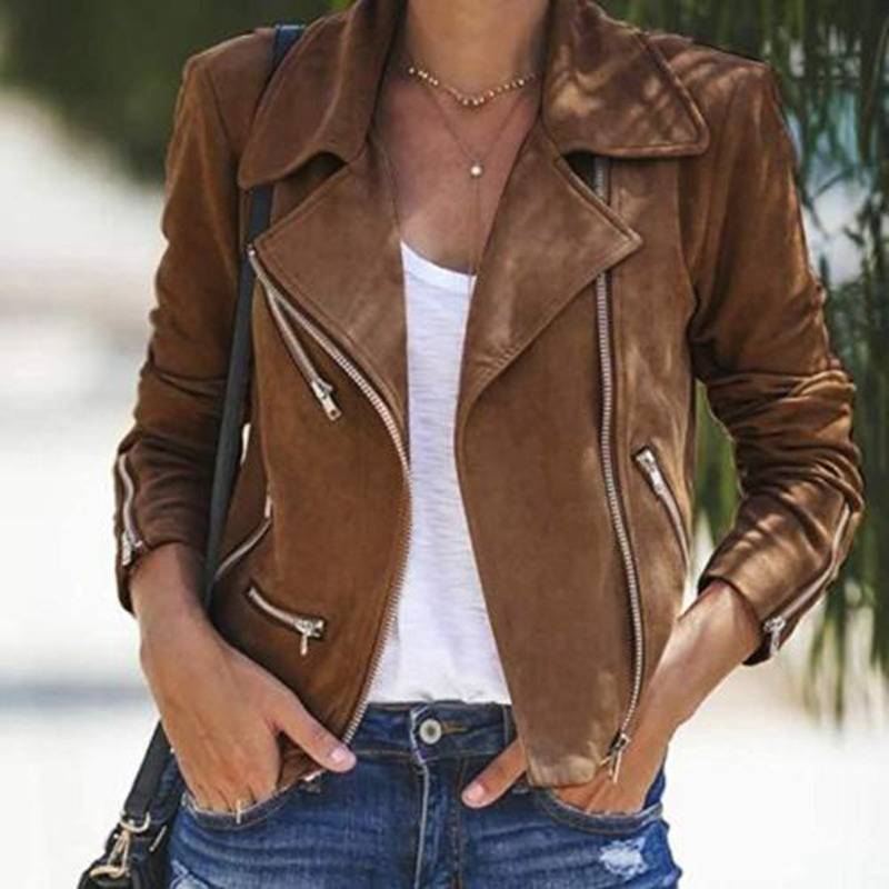 Womens Leather Jacket Coats Zip Up Biker Casual Flight Top Coat Outwear  Fabric Thin Jacket Flight Coat Zip Up Biker Casual Tops