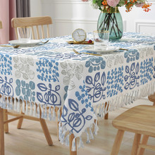 Simanfei Plaid Table Cloth Cotton Linen Printing Tassel Rectangular Table Cover Home Decoration Household Coffee Tablecloth simanfei linen table cloth country style plaid print stylish rectangle table cover tablecloth home kitchen decoration