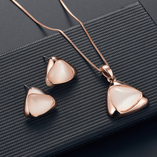 Jewelry Alloy Plating Geometric Cat Eye New Fashion Charm Women Valentine's Day Gift Necklace Earrings Sets for women