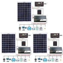 18V 20W Solar Panel Power System + 12V/24V Digital Controller + 1000W Inverter Kit