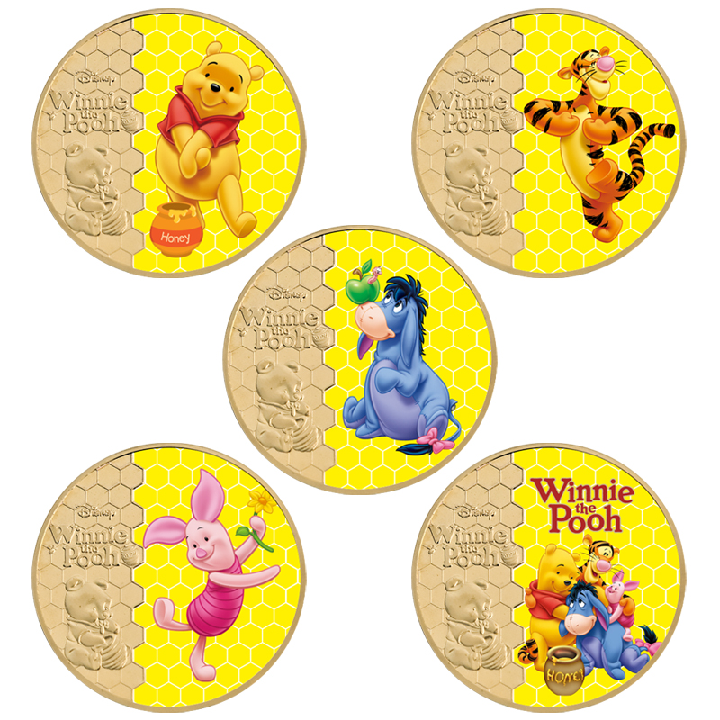 Классические американские Мультяшные позолоченные монеты, коллекционные монеты с держателем для монет, США, аниме, милый медведь, монета, оригинальный сувенир, подарок для детей|Безвалютные монеты|   | АлиЭкспресс