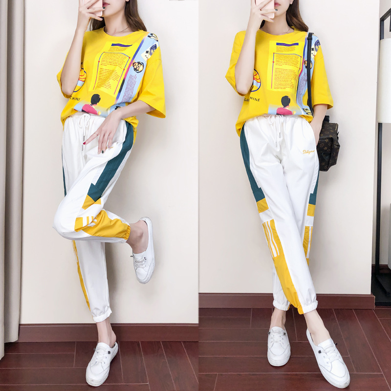 Casual Sports WOMEN'S Suit Summer 2019 New Style Popular Brand Fashion Western Style Slimming Korean-style Hong Kong Flavor Trou