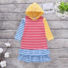 Causal Colorful Stripe Flounce Decor Hooded Long-sleeve Dress tie neck bell sleeve flounce dip hem dress