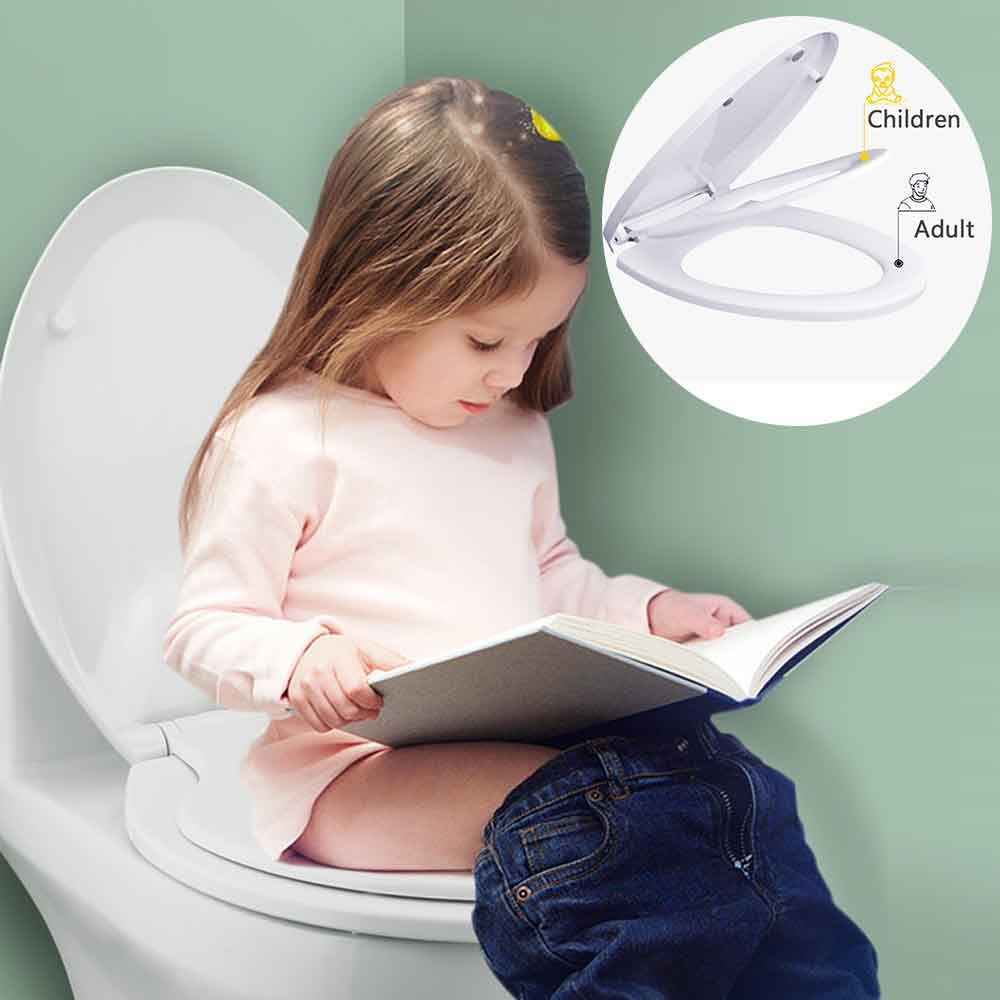 Double Layer Adult Toilet Seat With Child Potty Training Cover PP Material Double Seats Safe Home Convenient For Adult Children