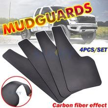 Conjunto de proteção de lama universal, 4 unidades, efeito de fibra de carbono, frontal e traseira, guardas de respingo, silhuetas, carro, van suv acessórios