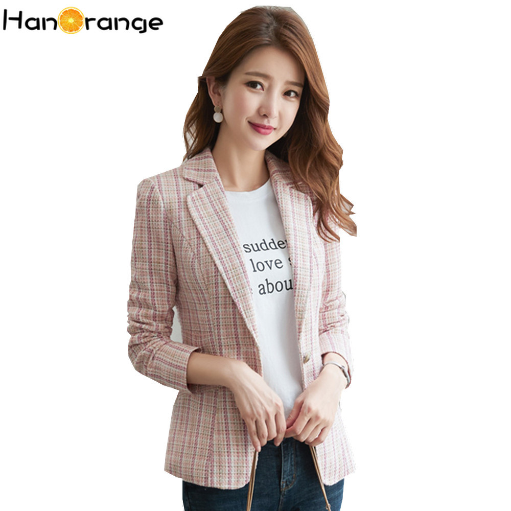 Plaid Suit Jacket Female Autumn 2019 Winter British Style Leisure Women Slim Short Blazer