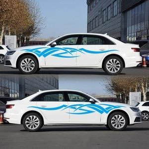 Image 1 - 2 adet vinil çıkartması araba vücut yan Wrap alev kabile grafik bel hattı Sticker yüksek kalite araba çıkartmaları yeni
