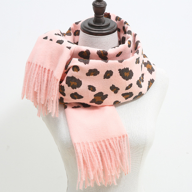 Fashion Women Leopard Winter Warm Cashmere Scarves Ladies Long Pashmina Shawl Wrap Scarf