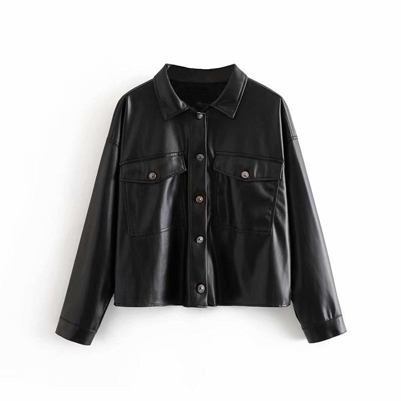 Femmes chic cuir synthétique polyuréthane noir blouse poche décorer à manches longues col rabattu chemise femme élégant décontracté hauts