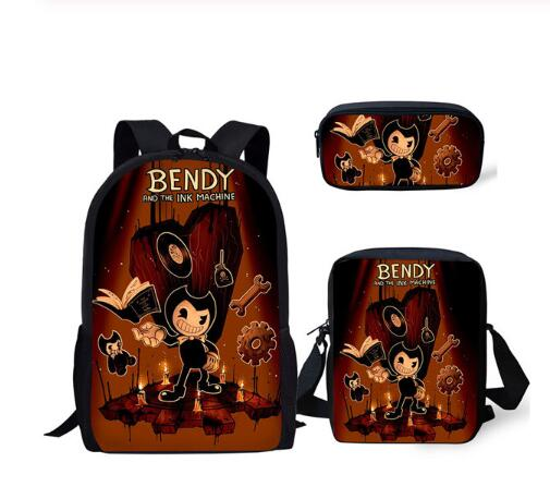 Fashion Children's Book-bags Set Bendy And The Ink Machine Pattern Kids School Bags Teenagers Shoulder Book Bag Mochila
