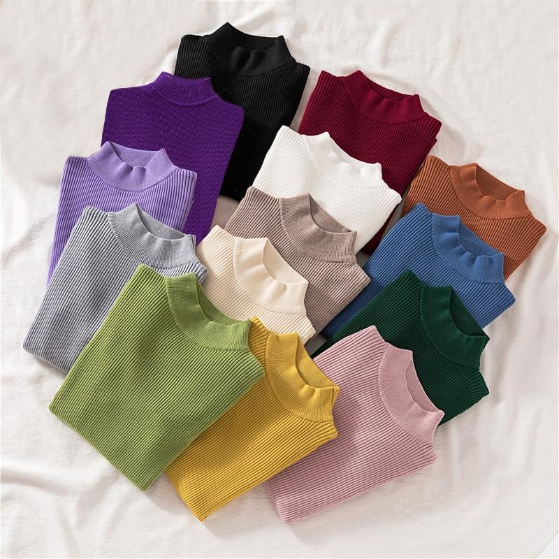 Zoki Autumn Women Pullover Sweater Half Turtleneck Long Sleeve Knitted Jumper Winter Elastic Solid Basic Ladies Blouse New 2021