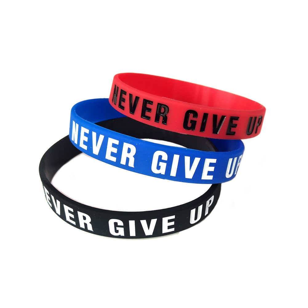 "New Arrival ""Never give up"" and ""No Pain No Gian""Motivational Bracelets For Men Women Silicone Rubber Band Wristbands Jewelry"