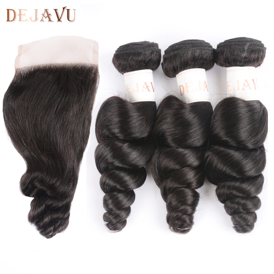 Dejavu Hair Brazilian Loose Wave 3 Bundles With Closure Middle Part Non-Remy Hair Bundles With Closure Natural Color No Tnagle