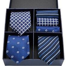 Мужская классический тощий синий галстук плед полоса 7.5 см шелк жаккард удлиненные платок комплект мужчин формальное свадебное платье