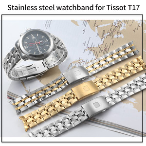 Image 4 - 19MM 20MM Stainless Steel Watch Bands For Tissot 1853 T17 T461 T014430 T014410 PRC200 Strap Curved Watchband Silver Gold TOOLS