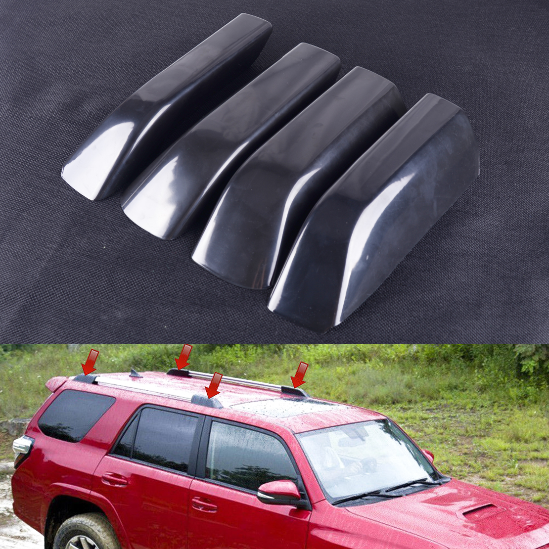 DWCX 4PCS ABS Roof Luggage Rack Rail End Cover Shell fit for Toyota <font><b>4Runner</b></font> N280 <font><b>2010</b></font> 2011 2012 2013 2014 2015 2016 2017 2018 image