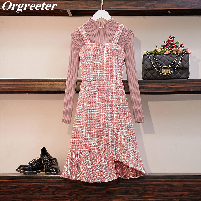 New Mermaid Tweed Dress Set Women's Suit Fashion Solid Pink/Black Knit Pullover Tops And Beaded Sling Dress 2 Piece Set