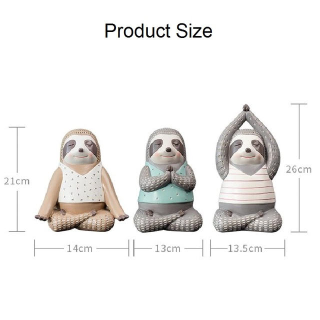 Yoga Sloth Statue Home Decor Chindren Room Ornament Lovely Animal Sculpture Nordic Style Decoration 6