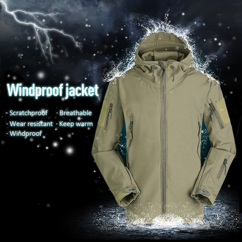 Coat Men Jacket Soft-Shell Tactical Fleece Military Windproof Army-Clothing Winter Casual title=