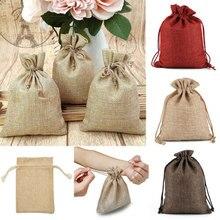 Sacs à bonbons en toile de Jute 10 pièces, petits sacs à bonbons en toile de Jute pour cadeaux de mariage, pochette à cordon, cadeau de noël, bijoux, pochettes, nouveau