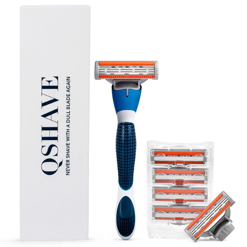 QShave Brand Blue Shaving Razor With Blade Shaver For Men X3 Blade