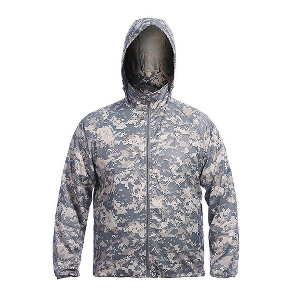 Hooded-Jacket Sun-Coat Windproof Zipper Outdoor Anti-Uv Quick-Dry Camouflage Men